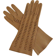 Gauntlet Length Kid Gloves.  Dark Tan.  Butter Soft.  Size 7 1/2.  As New Condition.