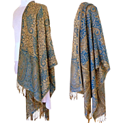 Blue and Baize and Silver Reversible Pashmina.  55% Pashmina and 45% Silk.   Super Gorgeous.  As New Condition.