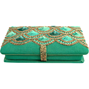 Jewelry Box.  Silver Beads and Turquoise Sequins.  Padded.  Lovely.  Mint Condition.