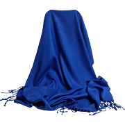 Turkish Pashmina.  90% Cashmere 10% Silk.  Deep Royal Blue.  V. Large.  As New Condition.  Gorgeous.