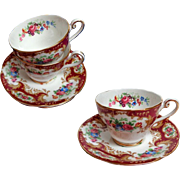 "Two Royal Standard ""Lady Fayre"" Pattern Cups and Saucers.  Red and Florals.  As New Condition."