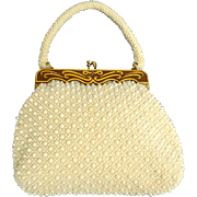 Lovely 1950's White on Cream Beaded Purse. Fancy Gold and Brown Decorated Metal Top. Made in Hong Kong. Mint Condition.