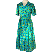 1990's Dressy Day Dress.  Custom Made.  Soft Polyester.  Green Print.  Mint Condition.