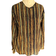 100% Silk Blouse Striped. Brown, Baize, Black, Turquoise.  Size M.  Perfect Condition.