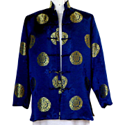 Chinese Jacket / Robe.  Navy and Gold.  Dragons.   Size L. Gorgeous. - Red Tag Sale Item