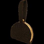 1930's Black Silk Corded Semi-Circle  Top Strap Purse.  Super Chic.  Mint Condition.