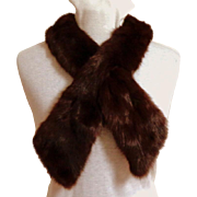 Genuine Fur Crossover Scarf.  Brown.  Luxurious.  Mint Condition.
