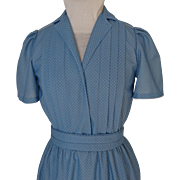 1980's Dressy Day Dress.  Custom Made.  Soft Polyester.  Soft Blue with Tiny Dots.  Mint Condition.