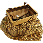 KORET Deb Gold Mesh Evening Bag.  Unusual Opening.  Unique Design.  As New Condition.