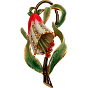 CORO Signed Trembler Brooch.  1930's.  Very Rare. Drooping Bell Flower.  Gorgeous.