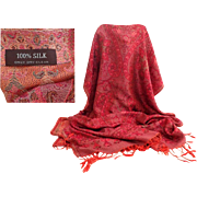 100% Silk Pashmina.  Shades of Rose.  Super Quality.  As New Condition.