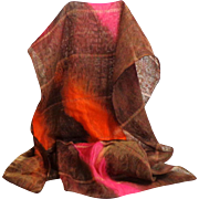 Silk Unusual 2 Layer Scarf / Stole.  Orange, Flame, Pink and Brown.  Mint Condition.