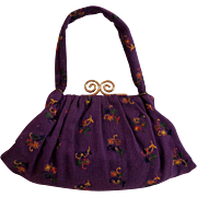 1940's Embroidered & Gathered Wool Purse. Iconic.  Near Fine Condition.