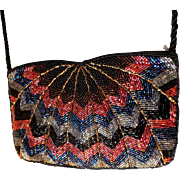 Super Gorgeous All Beaded Evening Bag.  Crossbody.  Peacock Pattern. As New Condition.