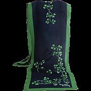 100% Silk Patrick Francis Ireland Designer Scarf.  Shamrock Sprig design.  As New Condition.