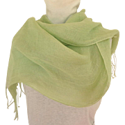 100% Linen Pashmina / Scarf / Shawl.  Mint Green.  As New Condition.