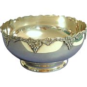 Large Silver Plate Fruit / Flower Bowl.  Grape and Vine.  Sheffield Reproduction.  Made In Canada.