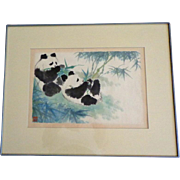 Wonderful Watercolor of Pandas in Bamboo Grove Eating.  Chinese Signature.  Framed.