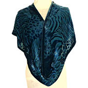 100% Silk Teal/Turquoise Burnt Out Velvet Oblong Scarf.  As New.  Super Luxurious.