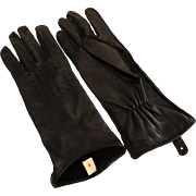 Elegant Black Kid Leather Gloves.  Beautiful Detailing.  Size 6 ½ Unworn.  As New Condition.