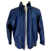 Genuine Leather BAGATELLE Jacket.  Bomber Style.  Dark Blue.  Top Quality.  As New Condition.