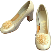 White Satin Wedding Shoes with Clip On Pompoms. 1969.  Very Small. Adorable.