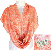 100% Silk.  Handmade Scarf / Stole.  Salmon, White & Baize.  Made in Canada.  Exquisite.