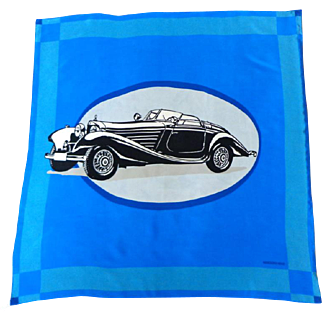 100% Silk MERCEDES-BENZ Designer Scarf.   Blue, Black, White. Vintage Car Graphic.  As  New Condition.