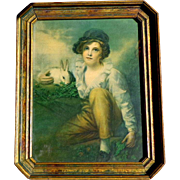 Framed Morris & Bendiem Boy With Rabbit Chromolithograph.  Exquisite.