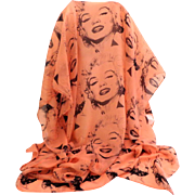 Marilyn Monroe Scarf / Shawl. Salmon and Black. Mint Condition.