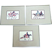 3 Plains Indians With Horses Prints. Beautifully colored.  Strikking.  Matted and Framed.  Perfect  Condition.