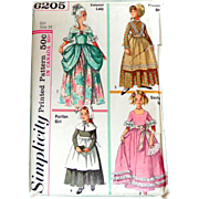 Simplicity Pattern. Girls' Colonial, Puritan, Belle & Frontier Costumes. Uncut, Unused Condition.