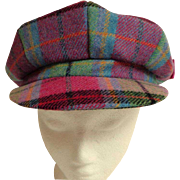 NESS.  Campbell Plaid. Poor Boy / Newsboy Style Cap.  100% Wool. As New Condition.