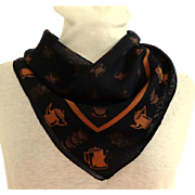 Silk Chiffon Scarf.  Black and Old Gold.  Tea and Coffee Themed.  Charming.  Mint Condition.
