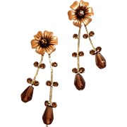 Topaz / Rootbeer Rhinestone Trembler Earrings.  Gorgeous. Mint Condition.