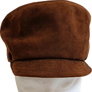 "1960's ""Twiggy"" Genuine Suede Leather Hat / Cap.  Iconic.  Mint Condition."