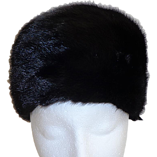 Black Mink High Large Pillbox Hat.  Exceptional Quality & Special Detail.  Custom Made.  As New Condition.