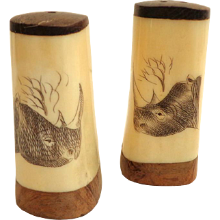 Salt and Pepper Shakers. Bone Scrimshaw with Rhino Engraved.  Mint Condition.