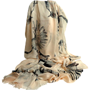 Huge. Incredible Bird Shawl / Pashmina / Cover-Up.  Pale Pink & Black.  As New Condition.