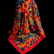 ALBERT NIPON Designer Scarf.  Signed.  Brilliant multi colors.  As New Condition.