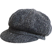 HARRIS TWEED Black Herringbone Cap / Hat.  Uni-sex.  Newsboy Style. Quality ++. As New Condition.