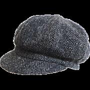 HARRIS TWEED Black Herringbone Cap / Hat.  Uni-sex.  Newsboy Style. Quality ++. As New Condition.