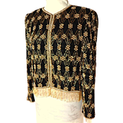 NIPON NIGHT. Pearls and Gold All Over Beaded Black Silk Jacket.  Super Gorgeous.  Mint Condition.