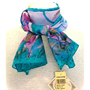 Exquisite Batik 100% Silk Butterfly Scarf.  MWT. Oblong, Blues and Purples and Gold Accents.  As New Condition.