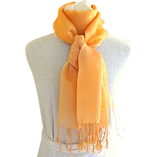 Exquisite Unusual Silk and Cotton V. Large Shawl / Scarf.  Orange. As New Condition.