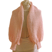 Hand Knitted Shrug.  Pink.  Adorable.  As New Condition.