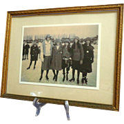 Framed Photo of 1920's Female Skaters.  Charming.