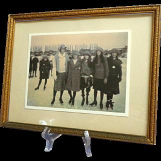 Framed Photo of 1920's Female Skaters.  Charming.