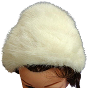 Canadian White Mink Hat. Contoured Toque Style with Decorative Loops.  As New Condition.