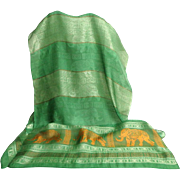 100% Pure Silk Pashmina / Scarf.  Green and Gold with Elephants.  As New Condition.